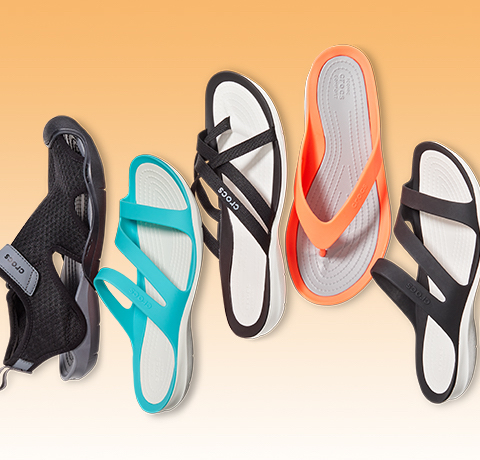 Men's Swiftwater™ Mesh Deck Sandal & Women's Swiftwater™ Sandal & Women's Swiftwater™ Webbing Flip & Women's Swiftwater™ Flip.